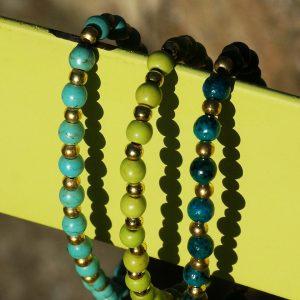 16-Farbige-Sommer-Perlenarmbaender-SeedBeads-tuerkis-und-gold-glanz-acqua-dunkelund-gold-glanz-limonengelb-und-gold-glanz-farbig-fuer-den-Sommer