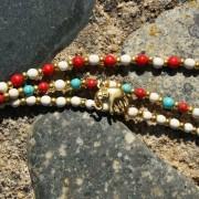 5-Perlenarmbaender-tuerkis-rot-weiss-und-gold-glanz-mit-Elefaentchen-weiss-und-gold-glanz-rot-weiss-und-gold-glanz-farbig-fuer-den-Sommer