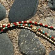 6-Perlenarmbaender-tuerkis-rot-weiss-und-gold-glanz-mit-Elefaentchen-weiss-und-gold-glanz-rot-weiss-und-gold-glanz-farbig-fuer-den-Sommer