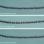9-Perlenarmbaender-orange-und-tuerkis-und-gold-glanz-viola-transparent-und-gold-glanz-farbig-fuer-den-Sommer