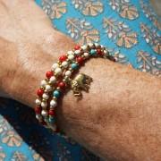 9-Perlenarmbaender-tuerkis-rot-weiss-und-gold-glanz-mit-Elefaentchen-weiss-und-gold-glanz-rot-weiss-und-gold-glanz-farbig-fuer-den-Sommer