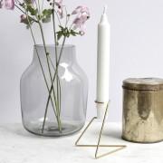 Kurvenreicher Kerzenständer Candlelight aus Kupfer, Messing, Stahl und Schwarz